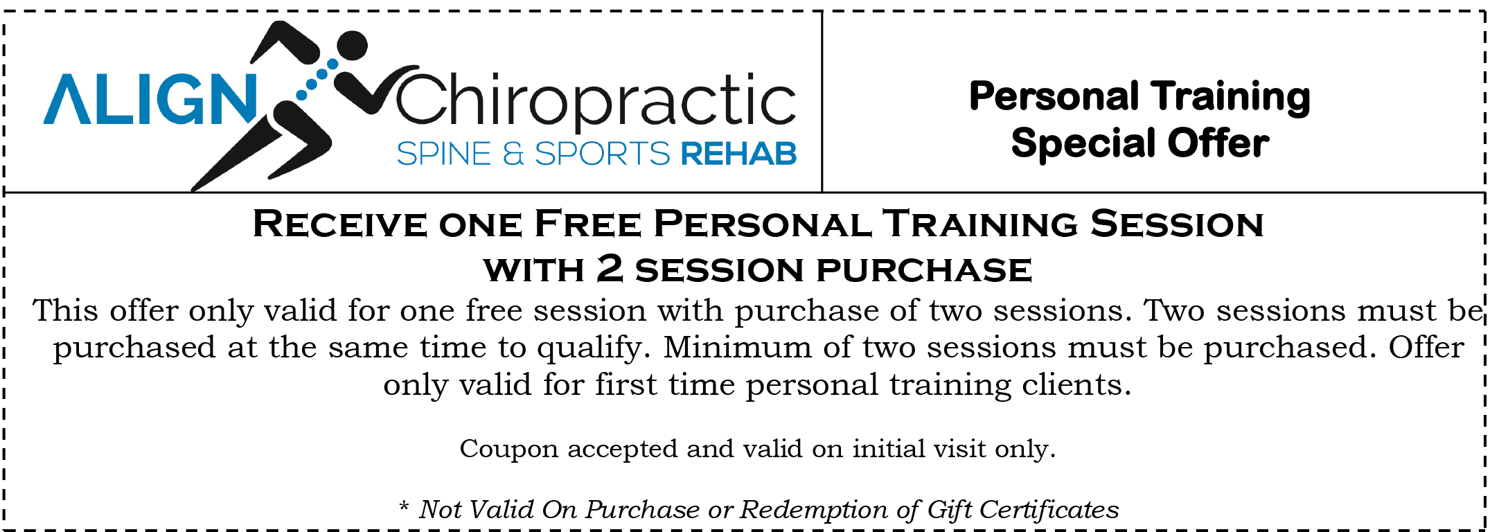 Special offers align chiropractic spine sports rehab buy 2 training sessions get 1 free xflitez Gallery